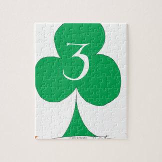 Lucky Irish 3 of Clubs, tony fernandes Jigsaw Puzzle