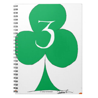 Lucky Irish 3 of Clubs, tony fernandes Notebook