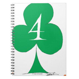 Lucky Irish 4 of Clubs, tony fernandes Notebook