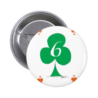 Lucky Irish 6 of Clubs, tony fernandes 2 Inch Round Button