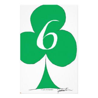 Lucky Irish 6 of Clubs, tony fernandes Custom Stationery