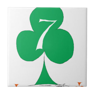 Lucky Irish 7 of Clubs, tony fernandes Ceramic Tiles