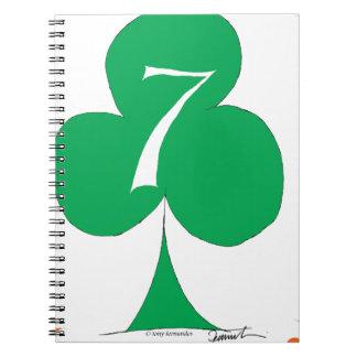 Lucky Irish 7 of Clubs, tony fernandes Spiral Notebook