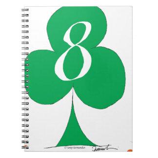 Lucky Irish 8 of Clubs, tony fernandes Spiral Notebook