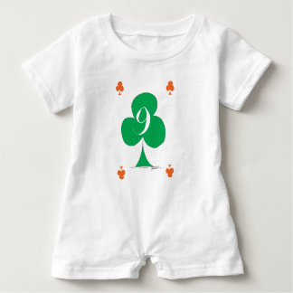 Lucky Irish 9 of Clubs, tony fernandes Baby Romper