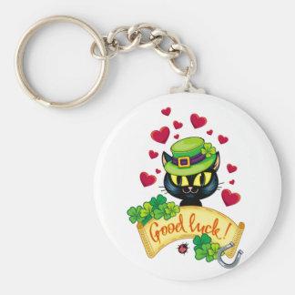 Lucky Irish Cat! Basic Round Button Keychain