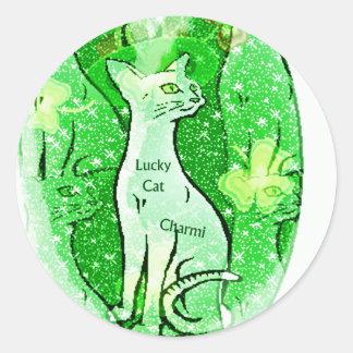 Lucky Irish Cat Gifts Round Sticker