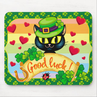 Lucky Irish Cat! Mouse Pad