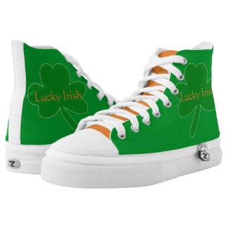 Lucky Irish Green White Orange High Top Sneakers