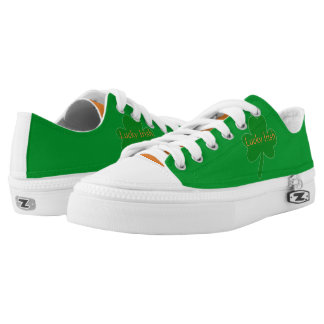 Lucky Irish Green White Orange Low Top Shoes