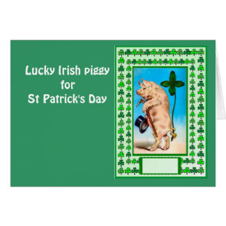 Lucky Irish piggy for St Patrick's Day Greeting Card