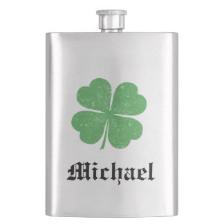 Lucky Irish shamrock /add name Hip Flask
