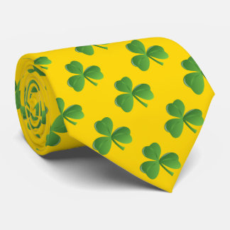 Lucky Irish Three Leaf Shamrock Gold Color Tie