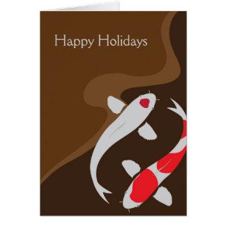 Lucky Japanese Koi Folded Holiday Christmas Card