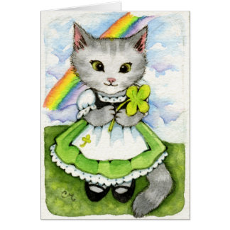 Lucky Kitten - Cute Irish St. Patrick's Cat Card