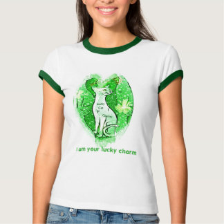 Lucky Kitty Charm St. Patricks day t shirt