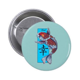 Lucky Kohaku Koi Fish 2 Inch Round Button