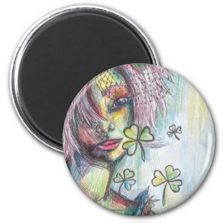Lucky Lady 2 Inch Round Magnet