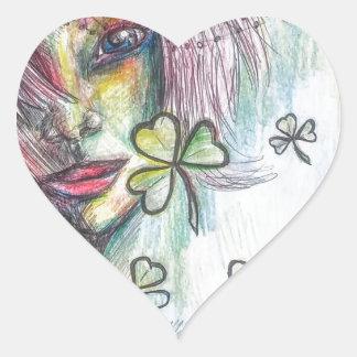 Lucky Lady Heart Sticker