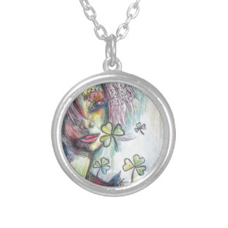 Lucky Lady Round Pendant Necklace