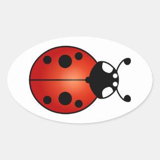 Lucky Ladybug Ladybird Beetle Oval Sticker