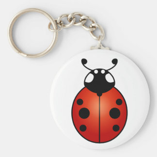 Lucky Ladybug Red Orange Black Ladybird Beetle Basic Round Button Keychain
