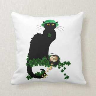 Lucky Le Chat Noir - St Patrick's Day Throw Pillow
