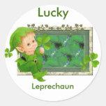 Lucky Leprechaun Round Sticker
