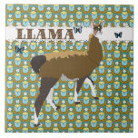 Lucky Llama Retro Floral Tile