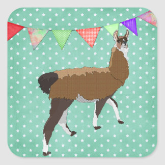 Lucky Llama Square Sticker