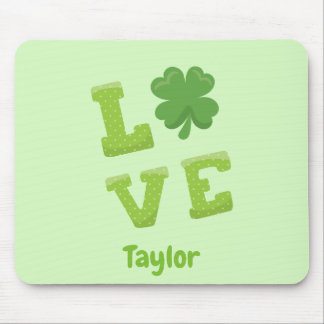 Lucky Love St Patricks Day Green Mouse Pad