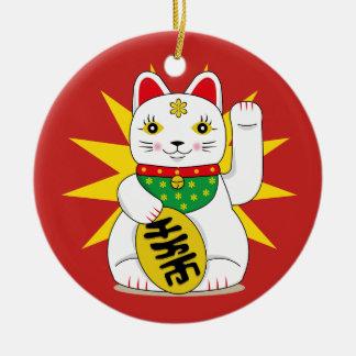 Lucky Maneki Neko Beckoning Good Luck Fortune Cat Ceramic Ornament