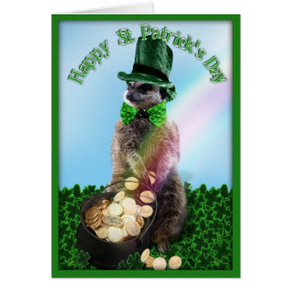 Lucky Meerkat with Pot Of Gold St. Patrick's Day Card