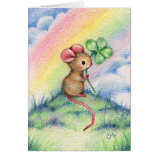 Lucky Mouse - Cute Animal Art Card