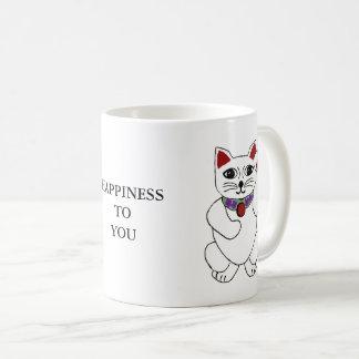 "Lucky Neko Cat ""Happiness to You"" Mug"