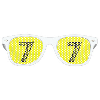 Lucky Number 7 Adult Retro Party Shades, White Sunglasses