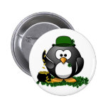 Lucky Penguin with Pot of Gold 2 Inch Round Button