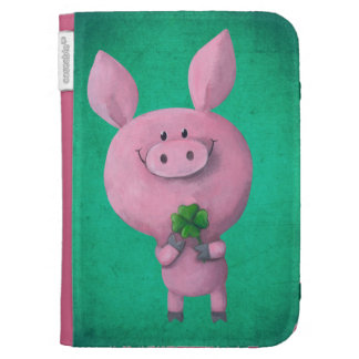 Lucky pig with lucky four leaf clover kindle covers