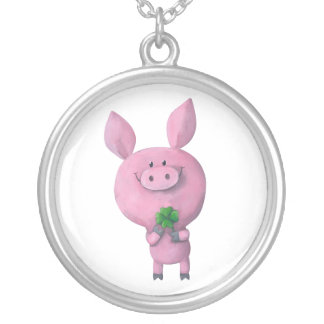 Lucky pig with lucky four leaf clover silver plated necklace