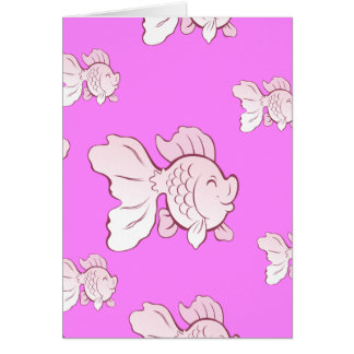 Lucky pink fish folding map highly card
