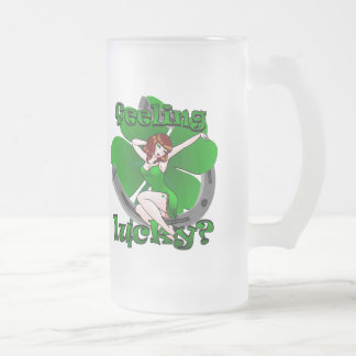 Lucky Pinup Beer Glass St Patrick's Day Mug