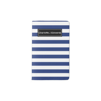 Lucky Point Blue and White Stripes Pocket Moleskine Notebook