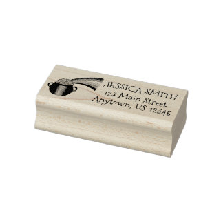Lucky Pot of Gold End of the Rainbow Address Rubber Stamp