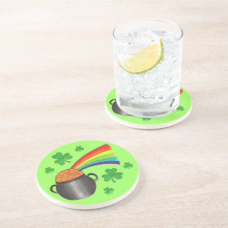 Lucky Pot of Gold Shamrock St. Patrick's Day Green Coaster