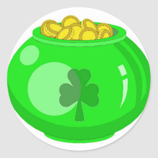 Lucky Pot O'Gold Classic Round Sticker