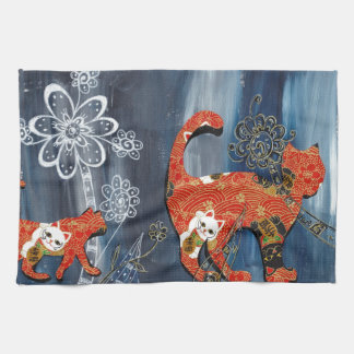 Lucky Red Cats Kitchen Towel