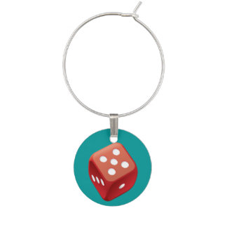 Lucky Red Dice Charm Wine Glass Charm