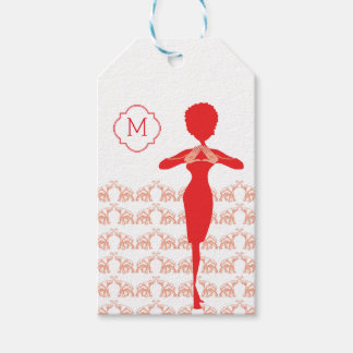 Lucky Red Elephant girl monogram Gift Tags