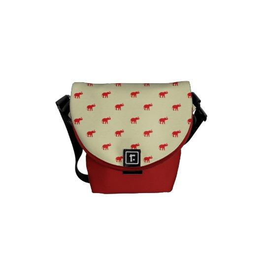 Lucky red elephant pattern messenger bag