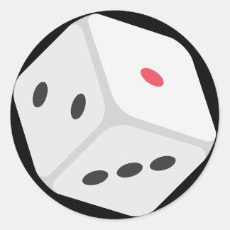 Lucky Rolling Dice Emoji Classic Round Sticker